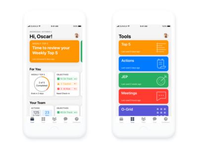 Feed and tools iOS design ios 11 card tools home feed mobile iphone ios