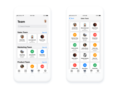 Team and Team Details screen iOS design ios 11 avatar people user card team mobile iphone ios