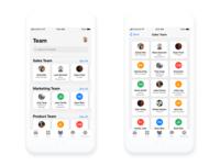 Team and Team Details screen iOS design