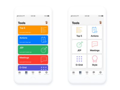 Tools iOS mobile design List view VS Card view ios 11 colour icon tools mobile iphone ios list card