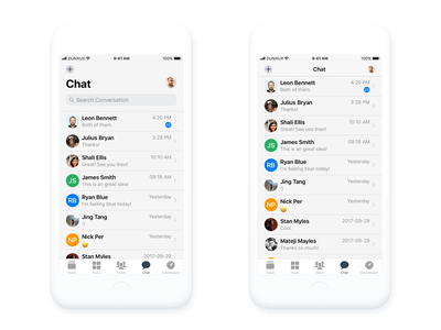Chat iOS mobile app design before and after scroll ios 11 scroll conversation mobile list iphone ios icon thread chat