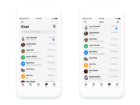 Chat iOS mobile app design before and after scroll