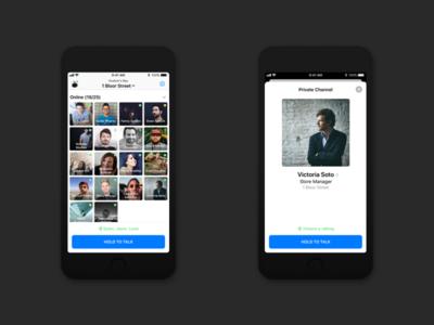 Walkie-Talkie App Concept for iOS 12 ios 12 walkie takie mobile voice ios call talk