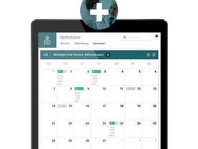 Medidate's Clinic App data calendar medidate clinics medical user experience user interface interface ui