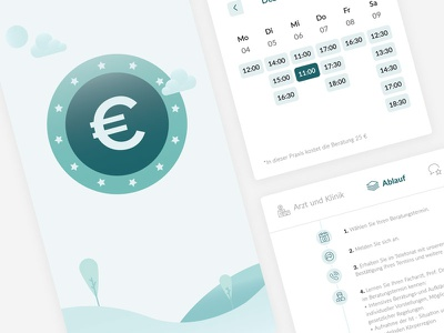 Online Booking process calendar tabs medidate financing payment euro illustration interface ux ui process booking