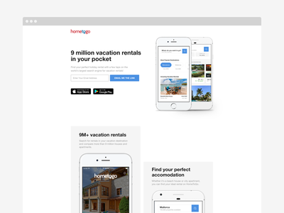 HomeToGo's App Page homes vacation rentals app page interface ux ui hometogo app