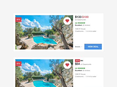 HomeToGo Resultcards improved redesign meta search wishlist engine search vacation rentals product design user experience result cards user interface hometogo