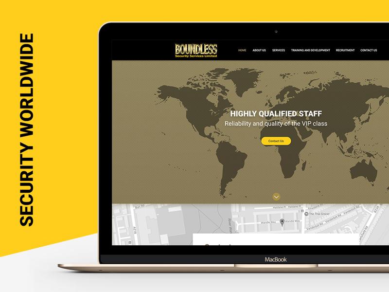 Web design for the company providing security