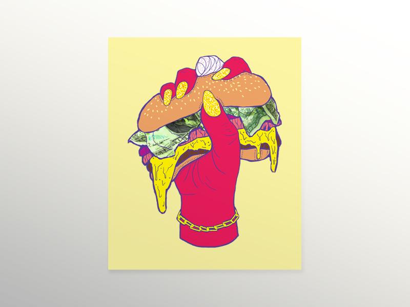 BRGR Felx poster gold hands hand burger poster print color
