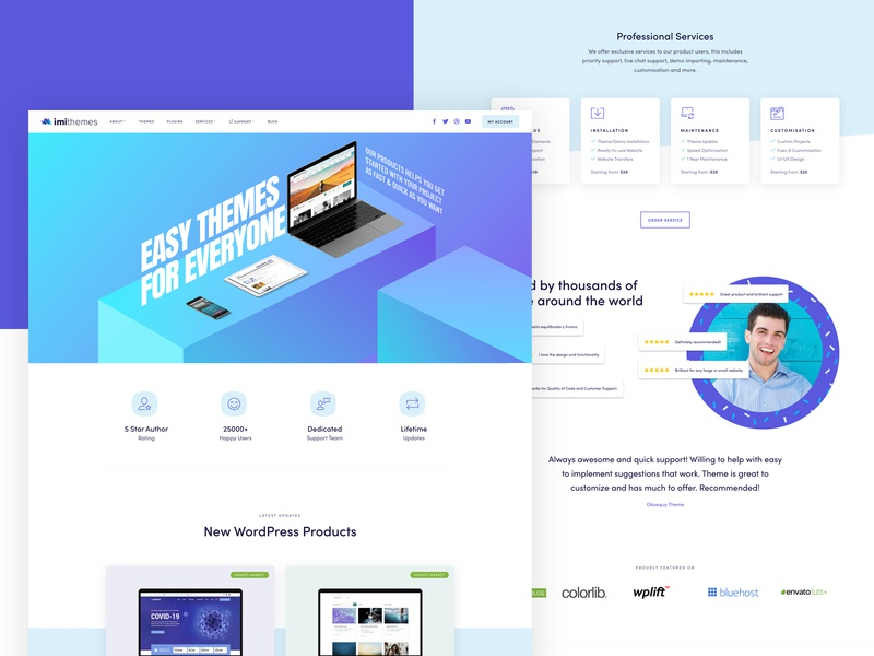 imithemes Official Website Design imagination imithemes imi services vector branding illustration landing page wordpress