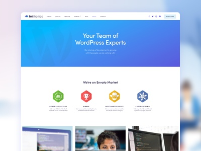 imithemes official website (WIP) About page wordpress templates about us aboutus about vector branding blue design wordpress