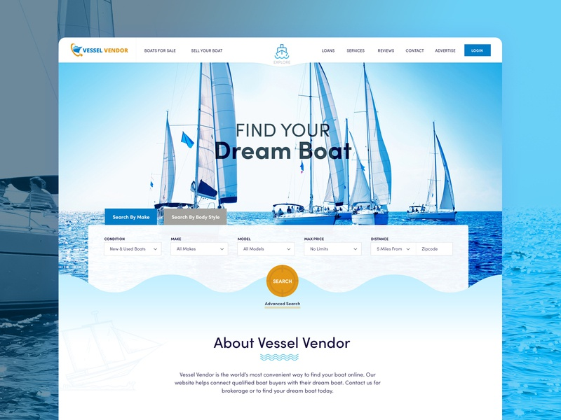 Website Redesign for boat dealership directory boat photoshop design illustration landing page wordpress