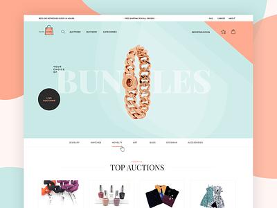 Auctions Website grid pastel auctions auction shop ecommerce shop ecommerce