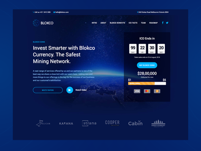 Blokco Theme ICO Landing Page (Dark) landing page ico web ui bitcoin cryptocurrency web design services