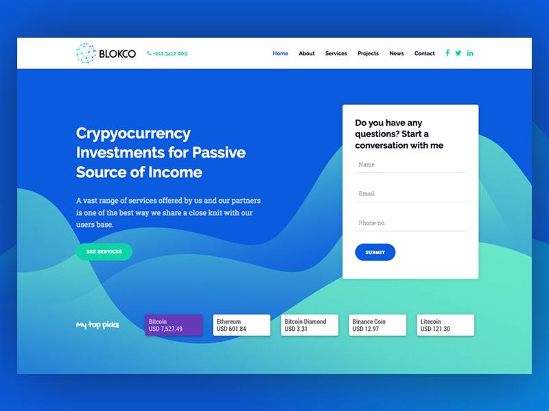 ICO Advisor - Blokco WP Theme landing page ico web ui bitcoin cryptocurrency web design services