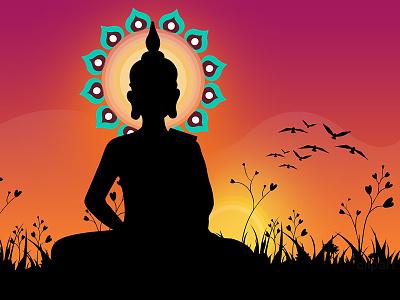 Lord Buddha Illustration purple design background illustraion buddhist buddhism buddha religious