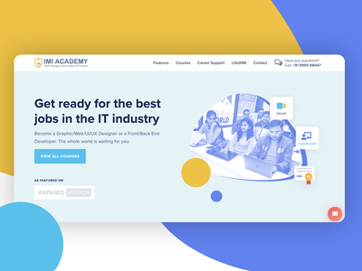 Redesign IMI Academy official website education school website redesign illustration html5 wordpress colorful