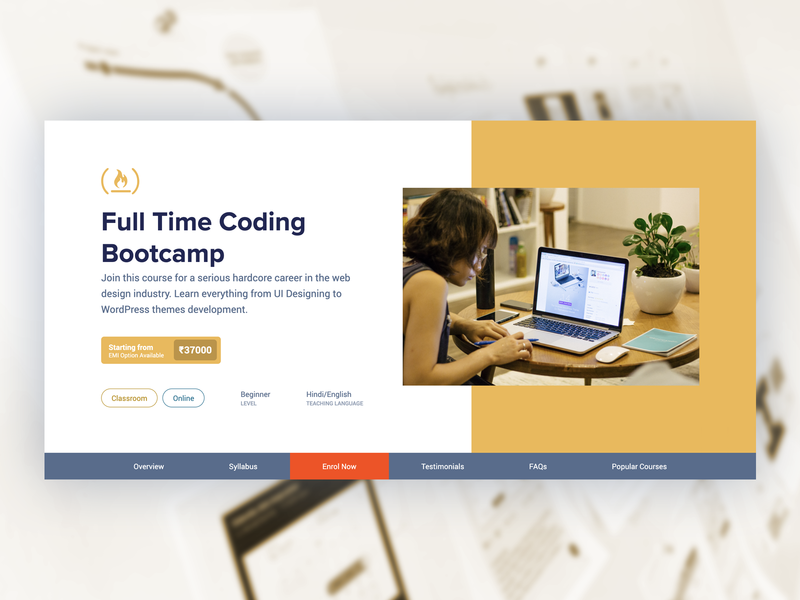 Bootcamp course landing page coursera graphics design wordpress elearning online course landing page course