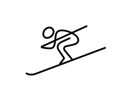 Skier mark ski skiing skier man sport branding brand identity logo logotype mark