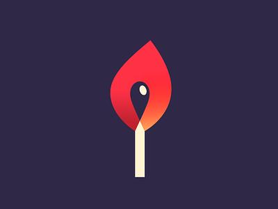 Match mark match fire colorful color colour gradient branding brand identity logo logotype mark