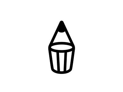 Pencil mark drunk glass pen pencil art smart clever branding brand identity logo logotype mark