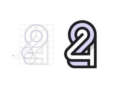 24 grid abstract shape 24 number letter geometric geometry identity logotype logo