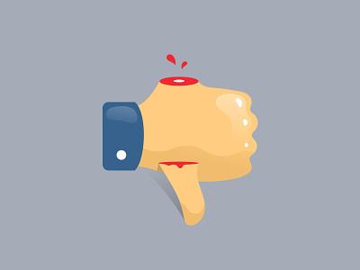 Dislike down up thumb sticker like clever illustration logo