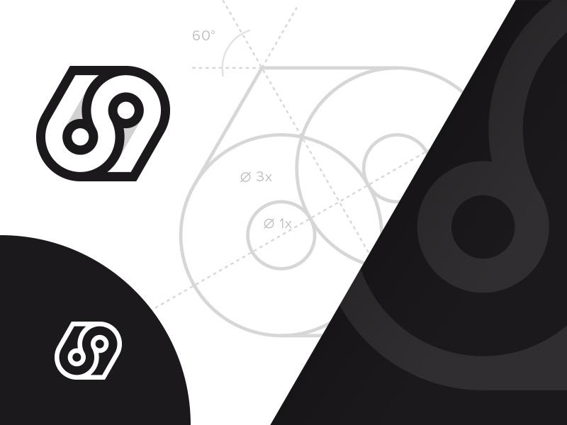 69 grid geometry grid 69 monogram number branding brand identity mark logotype logo design logos logo