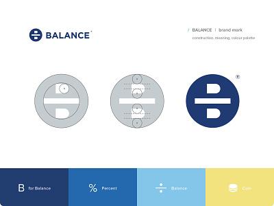 Balance mark b letter percent money coin balance branding identity logo logotype mark