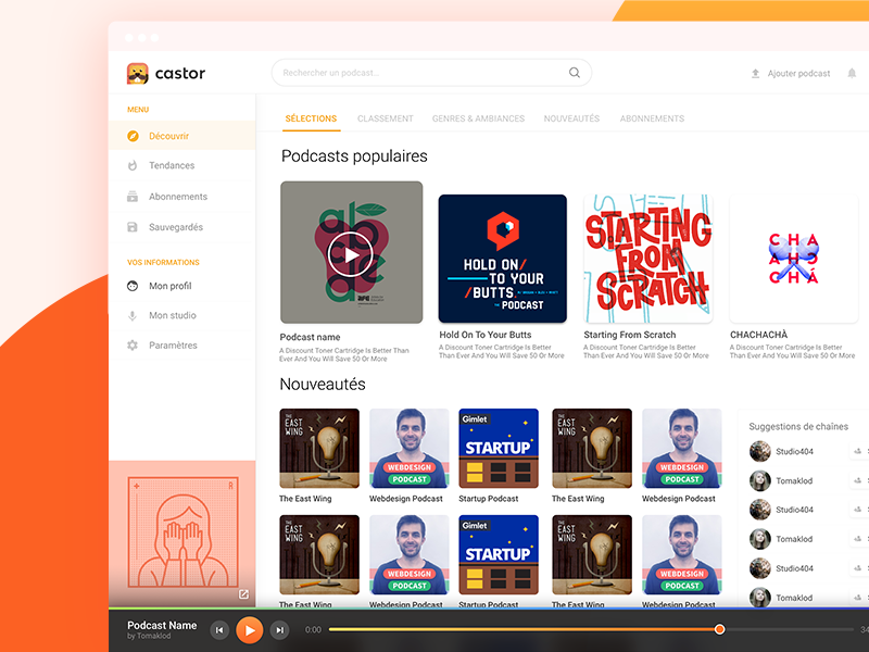 Castor - Podcast Streaming player sidebar icons app ux ui homepage music streaming webapp website podcast