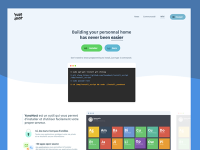 Landing page Self Hosting ux ui minimal icons terminal server host web header landing page open-source