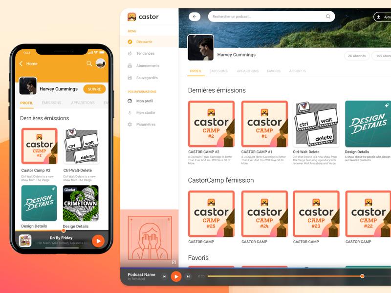 Castor Profil Page - Web/Responsive detail user profil player iphone castor podcast responsive web