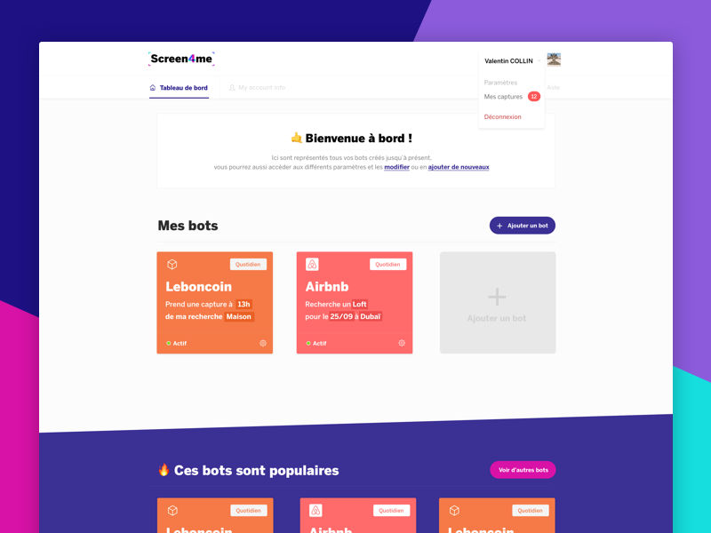 👀 Screen4Me - Dashboard ux ui minimal color dashboard