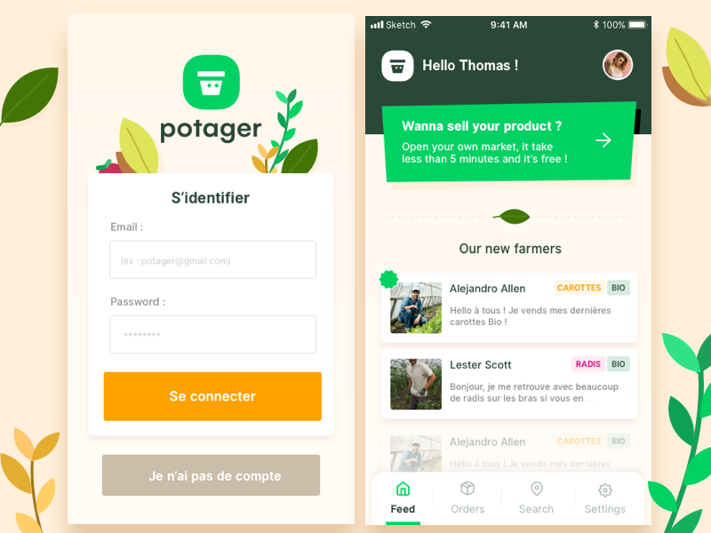 Potager Project green wip potager ux ui listing app garden illustration
