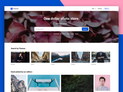 OnePixel Homepage sketch stock photo photostock minimal header web ux ui