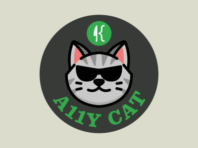 Four Kitchens A11y Cat sticker/promo a11y