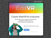 Playing with the EditVR landing page