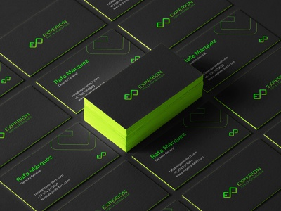 Stationary Experion green infinite channel youtube digital tech experion ui design visual identity logo design logo branding brand identity brand