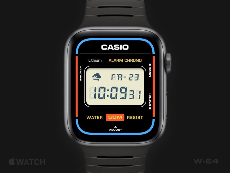 Apple Watch Casio W-64 vintage retro watchface casio apple watch