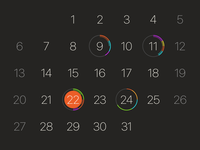 Calendar App dark sketch illustrator tasks calendar