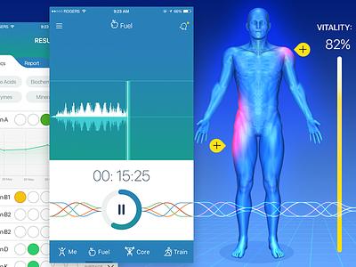Health App vitality sound waves fft fft analysis health tracker uius ui design health app