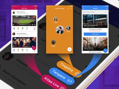 Screenshots of our upcoming social media app