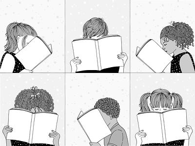 Kids Reading Books school illustration design reading books kids hand drawn art children illustration