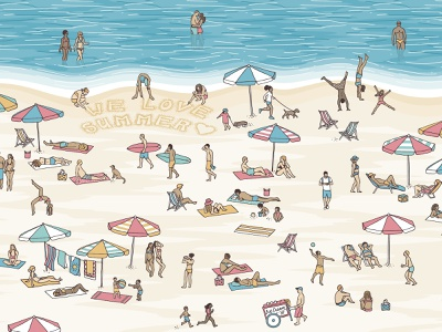 Tiny People at the Beach art vacation holidays sun heat beach love summer people illustration hand drawn