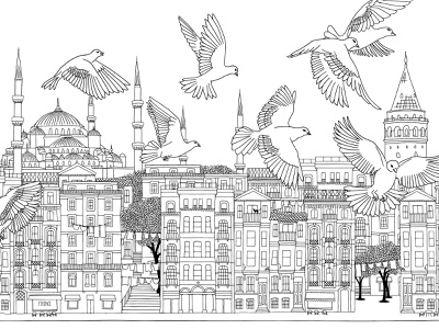 Istanbul buildings houses peace peaceful birds skyline cityscape ink hand drawn drawing line art art illustration city