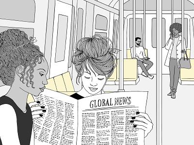 Underground artistic art ink hand drawn illustration drawing reading newspaper female women sitting commute people subway underground