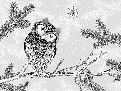 Winter Owl ink art drawing hand drawn illustration branch forest bird animal snow winter owl
