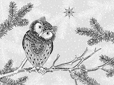 Winter Owl ink art drawing hand drawn illustration branch forest bird animal snow winter owl