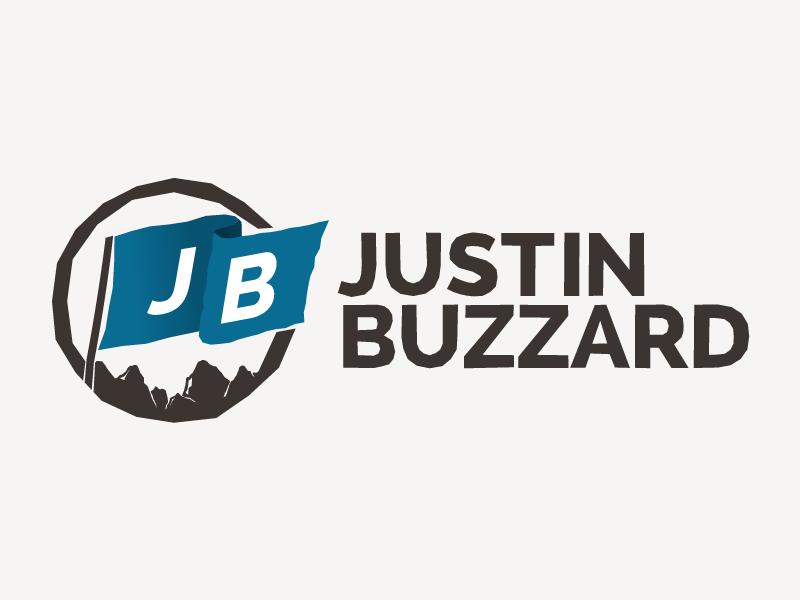 Justin Buzzard Logo flag mountains outdoors adventure pastor logo