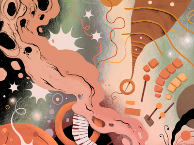 Serious Things Tomorrow psychedelic kandinsky music branding album cover album art design illustration procreate drawing